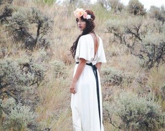 d215d53e48 The June Gown | Classic cape sleeve wedding dress | Bohemian wedding dress  | boho wedding dress handmade