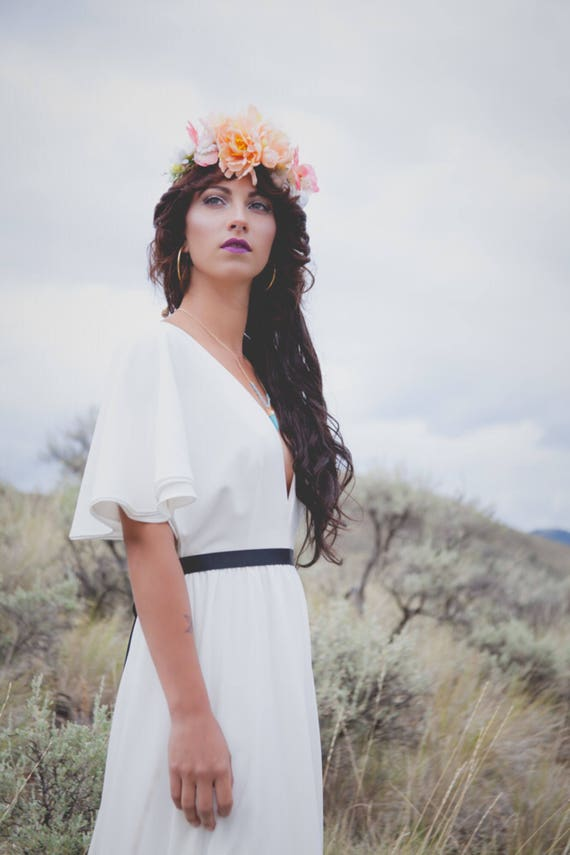 SAMPLE SALE | The June Gown | Classic cape sleeve wedding dress | Bohemian wedding dress | boho wedding dress handmade