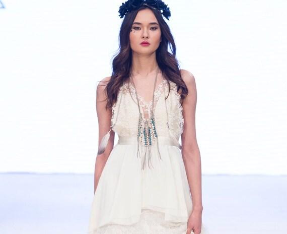 SAMPLE SALE!! August Ceremonial Gown | Bohemian Wedding Dress