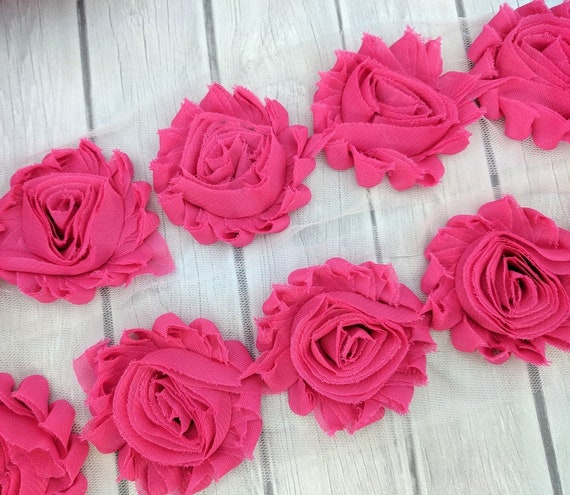 "1 yard grape 2.5/"" shabby chiffon rose trim flowers DIY baby headband"