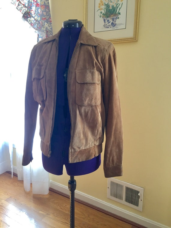 Retro 1980's Real Suede Bomber Jacket