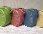 Fiesta retired colors mini disk pitcher or creamer Fiestaware miniature discontinued chartreuse yellow periwinkle rose