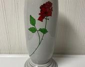Fiesta Retired Pearl Gray with Rose decal Millennium III 3 Vase Fiestaware