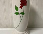 Fiesta Retired white with Rose decal Millennium III 3 Vase Fiestaware