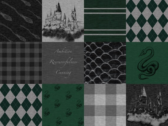 eae4bc78dfc1 House Minky Blanket Slytherin Inspired Faux Quilt All Minky