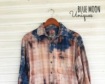MEDIUM - Flannel Shirt - Bleached - Vintage Washed Flannel - Oversized Flannel - Distressed Flannel - Plaid Shirt - Fall Shirt - #73 BM