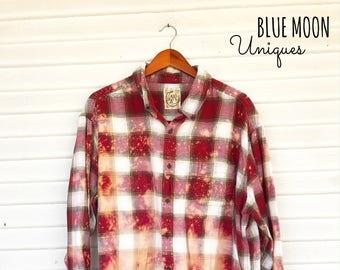 3XLARGE - Flannel Shirt - Bleached - Vintage Washed Flannel - Oversized Flannel - Distressed Flannel - Plaid Shirt - Fall Shirt - BM