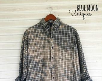 LARGE - Flannel Shirt - Bleached - Vintage Washed Flannel - Oversized Flannel - Distressed Flannel - Plaid Shirt - Fall Shirt - #75 BM