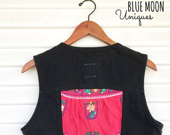 Mexican Embroidered Black Denim Vest - Denim - Patched - Upcycled Vest - Size Medium