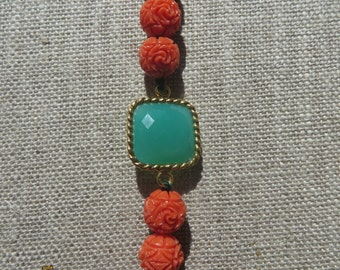 Chysoprase and Carved Coral Bracelet