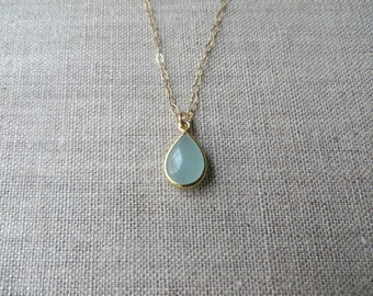 Chalcedony & Gold Teardrop Necklace