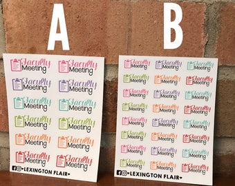 Faculty Meeting Planner Stickers - Choice of sizes - Great for ECLP, Happy Planner and More