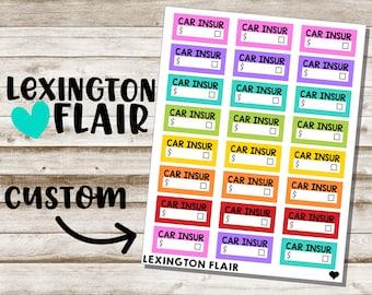 MINI Custom Bill Due Planner Stickers  - New Colors!