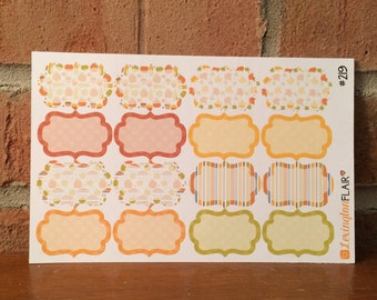 Set of (16) Fall Thanksgiving Fancy Half Box Stickers Great for your ECLP, Happy Planner, Filofax #219