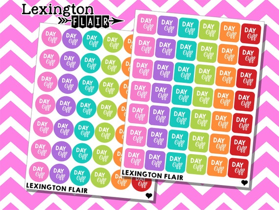 Planner Stickers Mini Day Off Circles or Squares Happy Planner and More Great for ECLP
