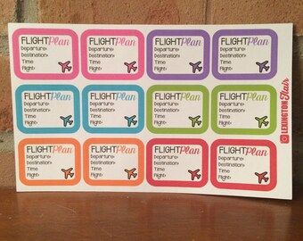 Set of (12) Flight Plan Planner Stickers Great for your ECLP, Happy Planner, Filofax