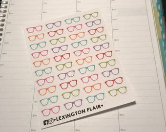Set of 40 Glasses Icon Planner Stickers For Your Planner or Calendar. Works Great for ECLP and happy planner