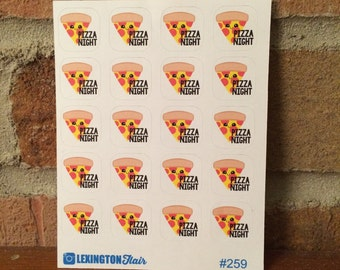 Set of 20 Mini Pizza Night Kawaii Planner Stickers For Your Planner or Calender. Works Great for ECLP and happy planner #259