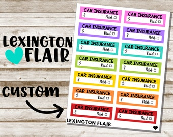 Custom Bill Due Planner Stickers - New Colors!
