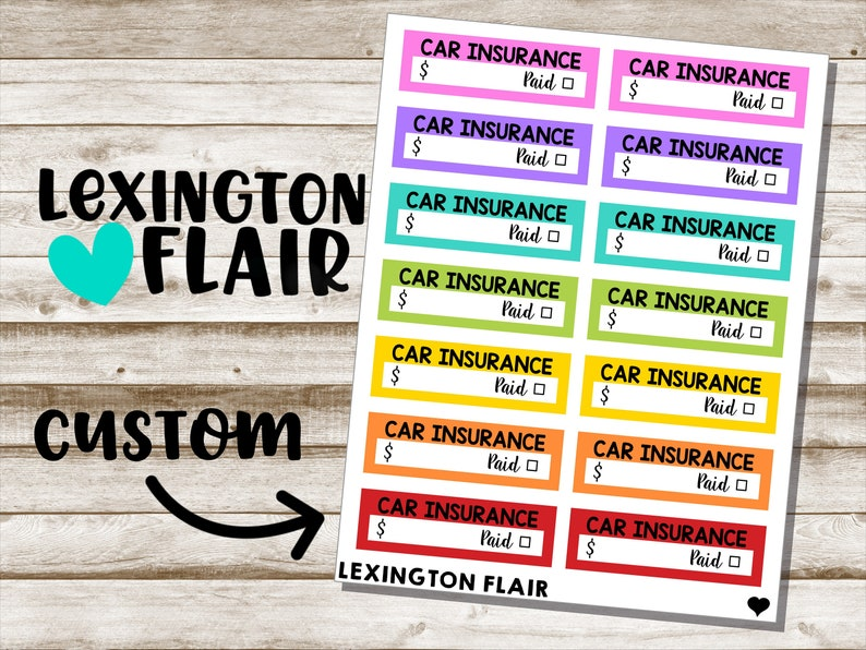 Custom Bill Due Planner Stickers  New Colors image 0