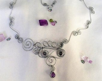 Mystic Topaz and Amethyst / Steel Wire Necklace / Wire Wrapped