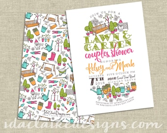 Couples Shower Invitation Digital Download | Lawn and Garden Gnome