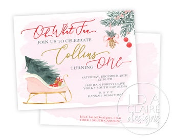 Winter Onederland Birthday | Oh What Fun to be One | Watercolor Sleigh