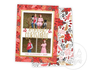 Christmas Photo Card | Vibrant Red Holly + Gold Foil | Photo Collage