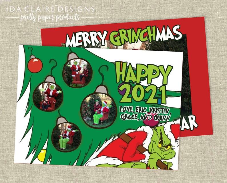 Christmas Photo Card  Merry Grinchmas  Grinch Hand Ornament image 1