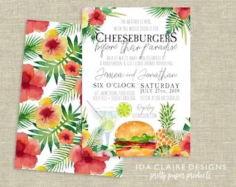 Couples Shower Invitation Digital Download | Cheeseburgers in Paradise | Jimmy Buffett