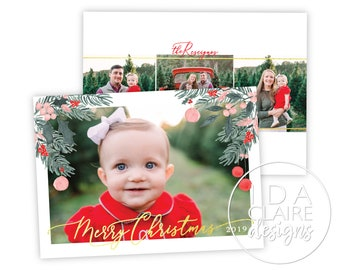 Christmas Photo Card | Bright + Light | Watercolor Foliage Holly Berries