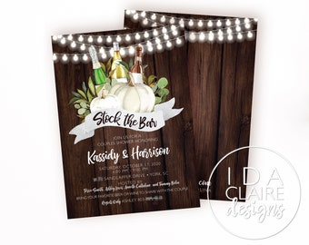 Bridal/Couples Shower Invitation Digital Download | White Pumpkin | Rustic Wood