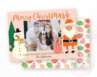 COVID 2020 Christmas Photo Card | Merry ChristMASK | COVID-19 | Santa Mask Holiday Card | Pandemic | Quarantine