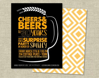 Birthday Invitation Digital Download | Cheers and Beers to 30 Years
