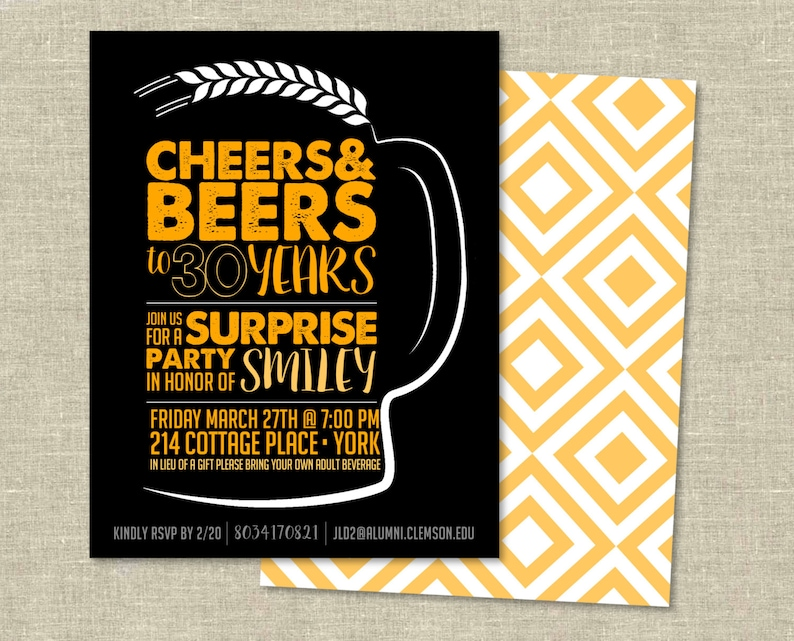 Birthday Invitation Digital Download Cheers And Beers To 30