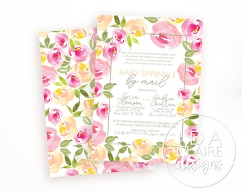 Floral Baby Shower By Mail Digital Download | Watercolor Floral | Contactless Baby Shower