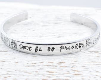 Don't Be So Prickly Succulent Bracelet, Plant Lover Gift, Gift for Gardener, Plant Jewelry, Succulent Jewelry, Cactus Bracelet, Cactus Cuff