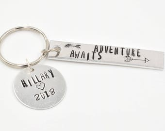 Adventure Awaits Keychain . Hand Stamped KeyChain. Graduation Gift. Custom KeyChain. Going away gift. Gift for Her or him Personalized Gift.