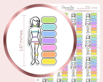 HF006 ~ Body Measurements Planner Stickers for Erin Condren planner, yearly goals page, fitness, weight loss, health, measurement tracker