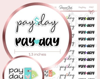 FM17 ~ Pay Day Planner Stickers for Erin Condren Life Planner, functional stickers for Happy Planner, work stickers, pay day stickers