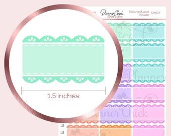 Stitched Lace Half Boxes Planner Stickers