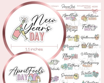 Annual Holidays Planner Stickers