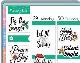 MS001 ~ Christmas Quotes Planner Stickers for Erin Condren Life Planner, stickers for Happy Planner