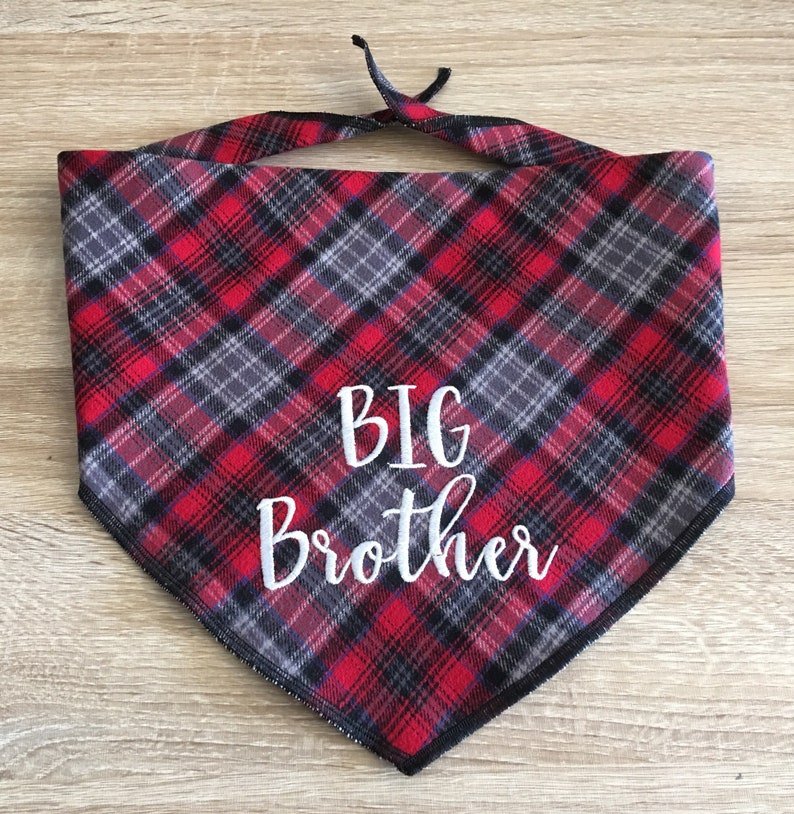 Rustic flannel plaid Great for Pregnancy pics Big Brother or Sister monogram on the front  Big Sis too Big Brother Dog Bandana