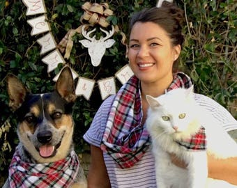 Pet Owner Set. Tartan Plaid Dog Bandana and Hu-Mom Infinity Scarf.  Tie-On monogrammed Dog bandana and Owner Scarf Set. Flannel