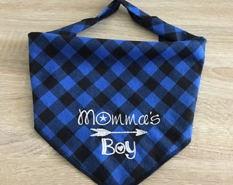 Dog Bandana - Momma's Boy.  Buffalo plaid flannel is personalized for your pet.  Tie On with name monogram on back. Opt HuMom scarf