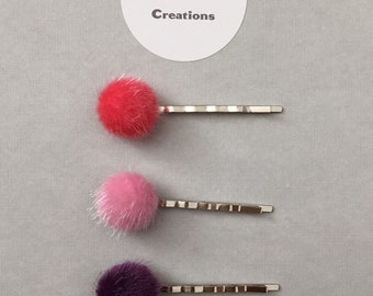 Furry Button Bobby Pin