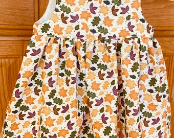 Preemie Girl Dress, Preemie Dress for Fall, Baby Leaf Dress, 4-5 pounds, 6 pounds
