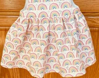 Rainbow Baby Dress, Preemie Rainbow Dress, Preemie Baby Dress, Preemie Girl Dress, 4-5 pounds, 6 pounds