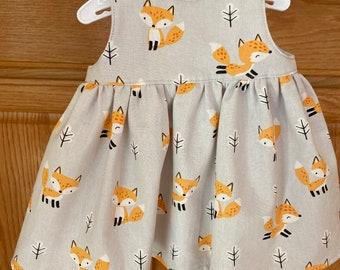 Preemie Girl Dress, Preemie Fox Dress, 4-5 pounds, 6 pounds